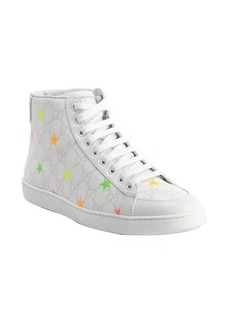 Gucci white GG supreme stars coated canvas 'Flo' high top sneakers