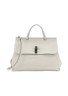 Gucci white leather 'Bamboo Daily' convertible top handle tote
