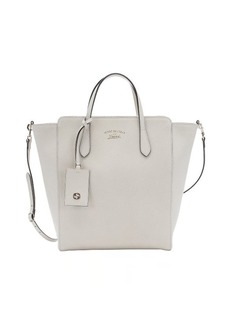 Gucci white leather logo print top handle tote