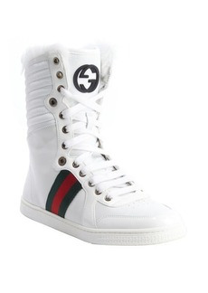 Gucci white leather logo striped rabbit fur trimmed hi-top sneakers