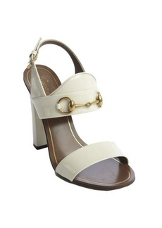 Gucci white patent leather horsebit block heel sandals