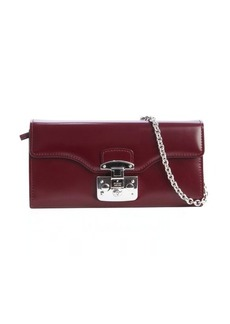 Gucci wine leather convertible chain strap continental wallet