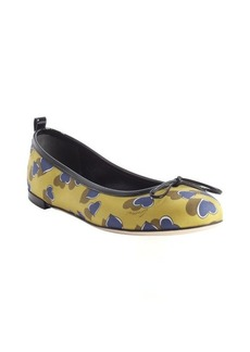 Gucci yellow and blue nylon heart print bow tie detail flats