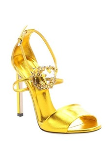 Gucci yellow metallic leather ankle strap sandals