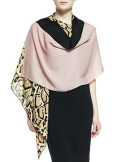 Lotti Leopard-Print Silk Shawl, Beige/Old Rose   Lotti Leopard-Print Silk Shawl, Beige/Old Rose