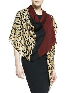 Lotti Leopard-Print Silk Shawl, Beige/Sienna   Lotti Leopard-Print Silk Shawl, Beige/Sienna