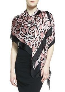 Lynn Leopard-Print Silk Stole   Lynn Leopard-Print Silk Stole