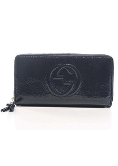 Pre-Owned Gucci Navy Patent Soho Zip Around Wallet