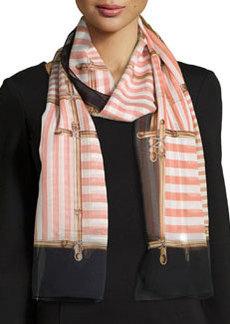 Regalia Striped Silk Stole, Black/Pink   Regalia Striped Silk Stole, Black/Pink