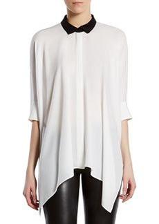 Silk Satin Georgette Cape Shirt   Silk Satin Georgette Cape Shirt