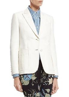 White Techno Cotton-Silk Jacket   White Techno Cotton-Silk Jacket