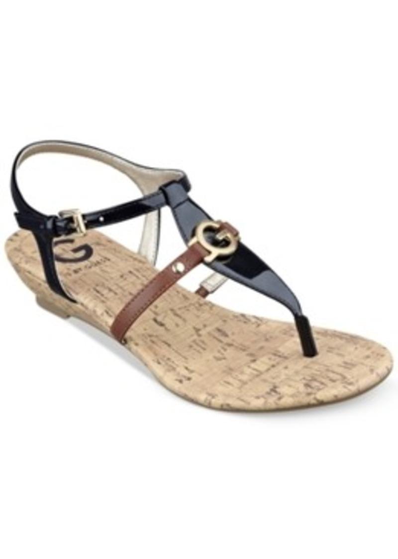 Cool Guess Women39S Rafiya TStrap Flat Sandals In Brown  Lyst
