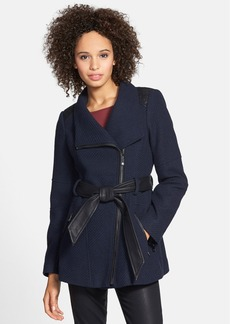 GUESS Asymmetrical Belted Coat with Faux Leather Trim (Online Only)