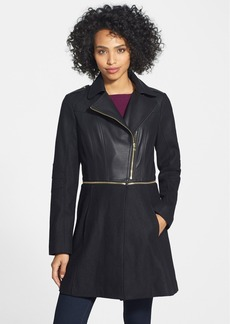 GUESS Asymmetrical Faux Leather & Wool Blend Coat (Online Only)