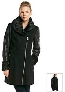 GUESS Asymmetrical Zip Coat With Faux Fur Collar