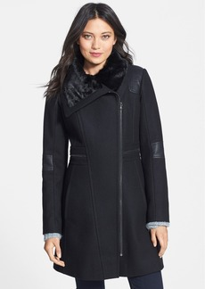 GUESS Asymmetrical Zip Wool Blend Coat with Faux Fur & Faux Leather Trim (Online Only)