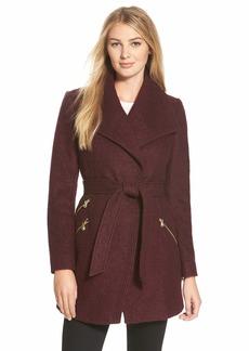 GUESS Belted Bouclé Wrap Coat