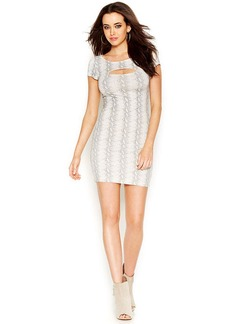 GUESS Cap-Sleeve Cutout Printed Body-Con Dress