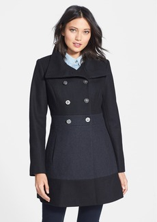 GUESS Colorblock Double Breasted Wool Blend Coat (Regular & Petite)