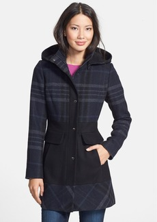 GUESS Colorblock Plaid Hooded Coat