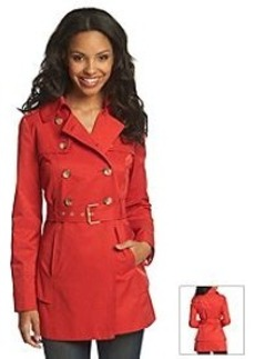 GUESS Double-Breasted Flared Hem Trench Coat