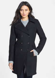 GUESS Double Breasted Wool Blend Coat with Faux Shearling Trim (Online Only)