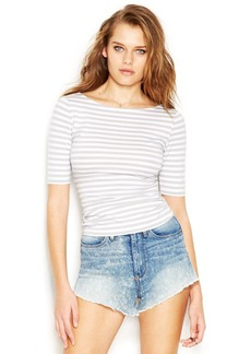 GUESS Elbow-Sleeve Tulip-Back Striped Cropped Top