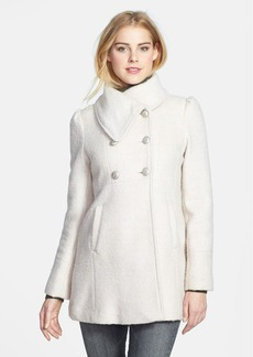 GUESS Envelope Collar Double Breasted Bouclé Coat (Petite)