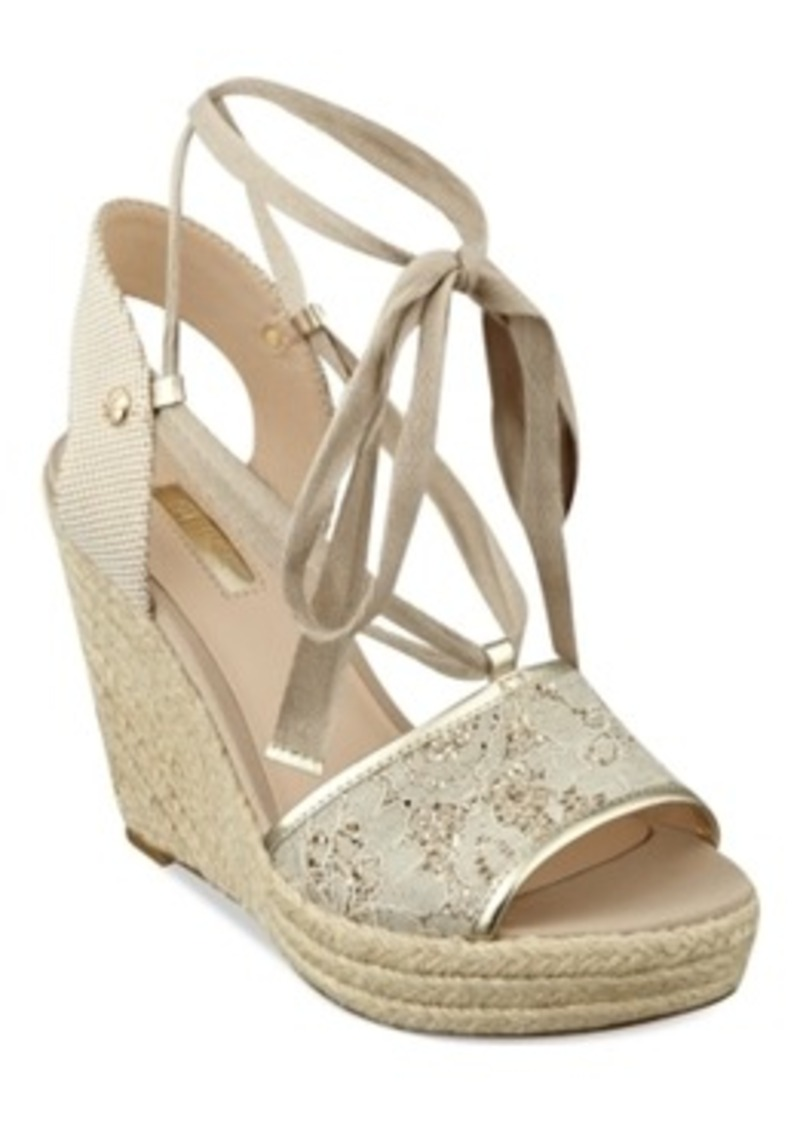 guess guess eylyna2 ankle wrap espadrille platform wedge