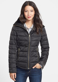 GUESS Faux Fur & Faux Leather Trim Quilted Jacket (Online Only)