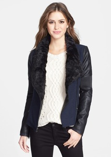 GUESS Faux Fur Collar Mixed Media Moto Jacket (Online Only)