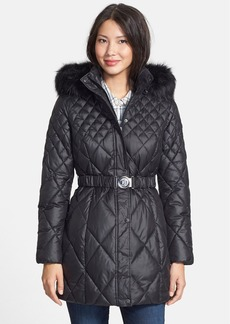 GUESS Faux Fur Trim Diamond Quilted Coat (Regular & Petite)