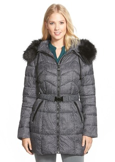GUESS Faux Fur Trim Print Belted Quilted Coat