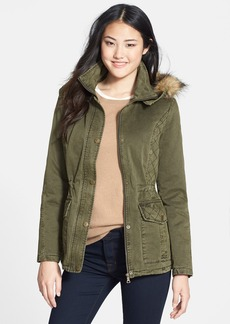 GUESS Faux Fur Trim Quilted Cotton Anorak (Online Only)