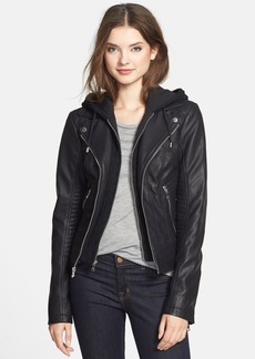 GUESS Faux Leather Moto Jacket with Cable Knit Hooded Bib Inset (Online Only)