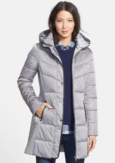GUESS Faux Leather Trim Hooded Quilted Walking Coat (Online Only)