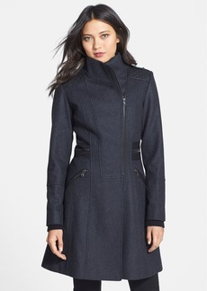 GUESS Faux Leather Trim Stand Collar Wool Blend Coat