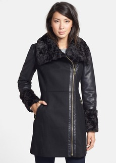 GUESS Faux Shearling Contrast Wool Blend Coat (Online Only)