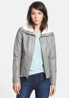 GUESS Faux Shearling Trim Faux Leather Jacket  (Online Only)