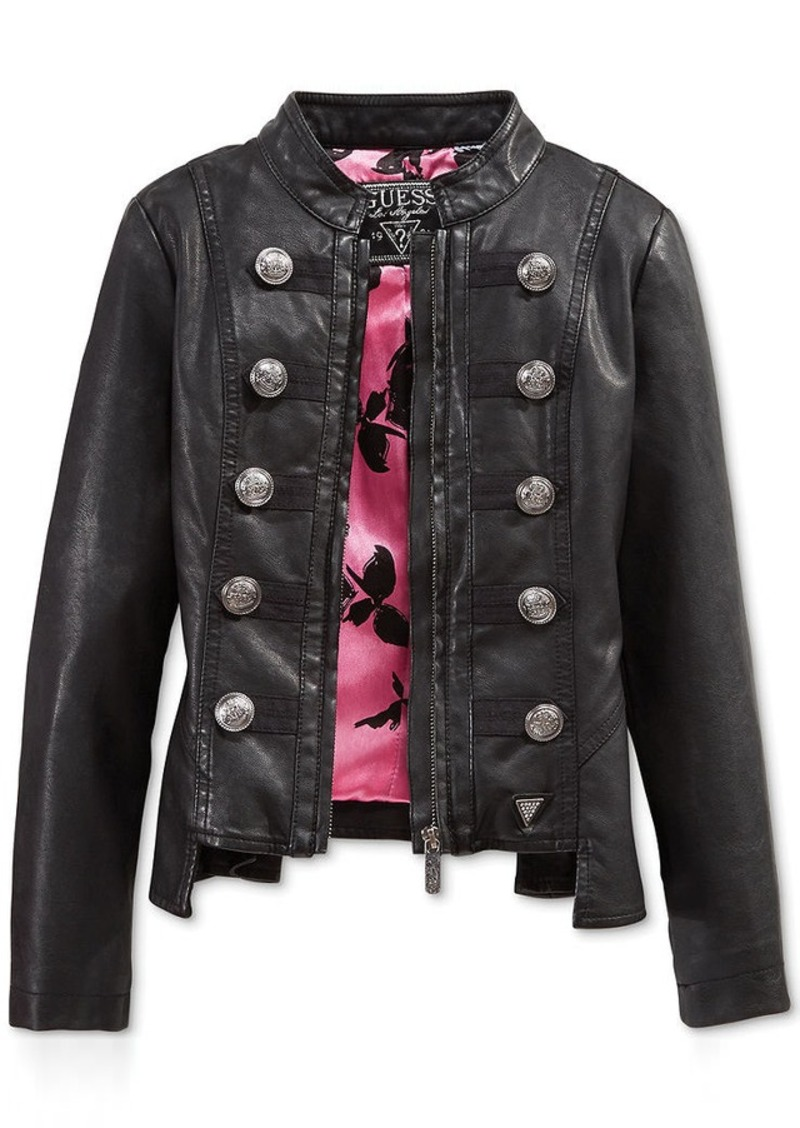 Guess Mens Leather Jacket Guess Leather Moto Jacket