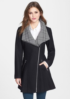GUESS Glen Plaid Detail Skirt Wool Blend Coat