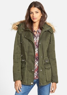 GUESS Hooded Cotton Field Jacket with Faux Fur Trim