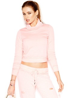 GUESS Long-Sleeve Cowl-Neck Cropped Sweatshirt