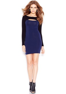 GUESS Long-Sleeve Cutout Colorblocked Dress
