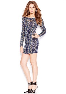 GUESS Long-Sleeve Cutout Printed Body-Con Dress