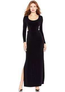 GUESS Long-Sleeve Embellished Cutout Maxi Dress