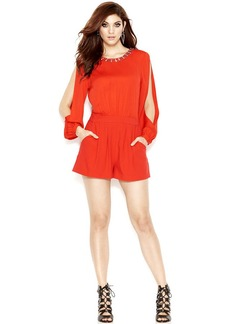 GUESS Long-Sleeve Embellished V-Back Romper