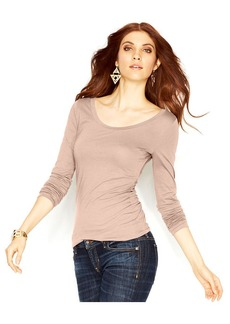 GUESS Long-Sleeve Lace-Up Top
