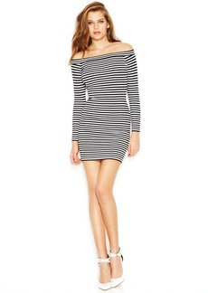 GUESS Long-Sleeve Off-Shoulder Striped Body-Con Dress
