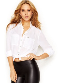 GUESS Long-Sleeve Point-Collar Cropped Blouse